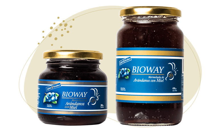 2 packagings Blueberry jam sweetened with honey.