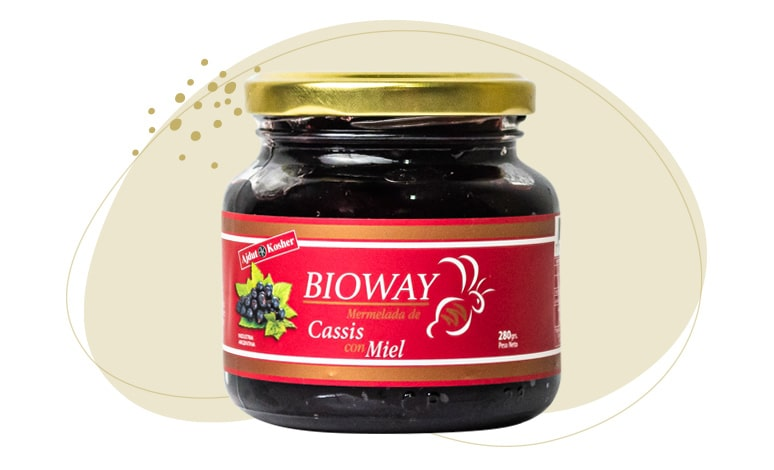 Packaging Cassis jam sweetened with honey.