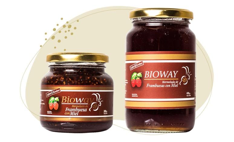 2 packagings of Raspberry jam sweetened with honey.