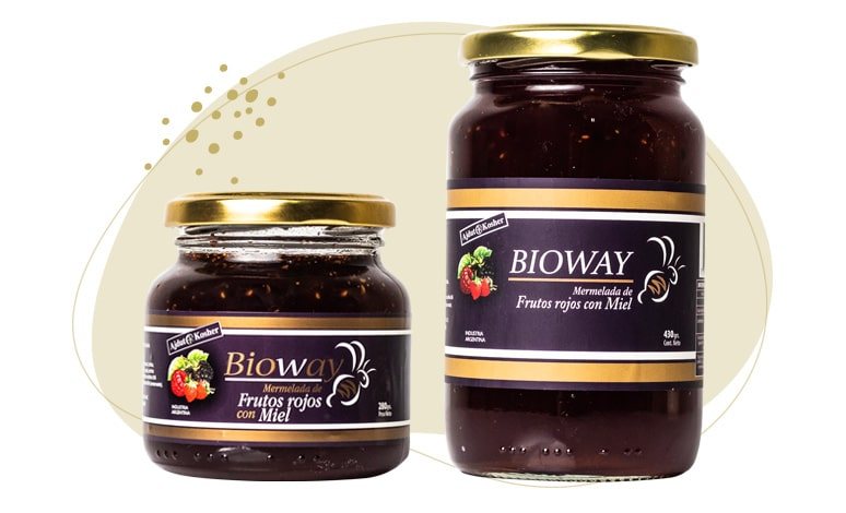 2 packagings Red berry jam sweetened with honey.