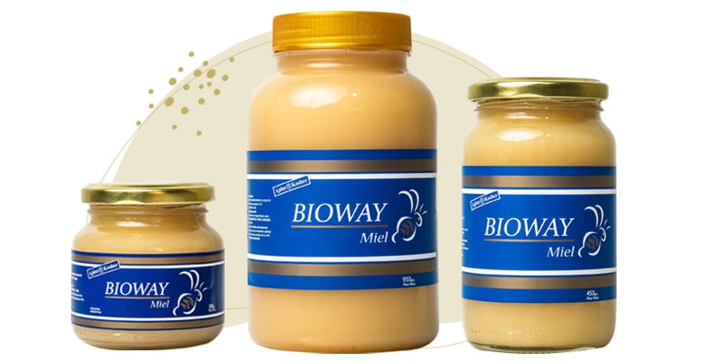 3 different packages of Creamy solid all-flowers honey.