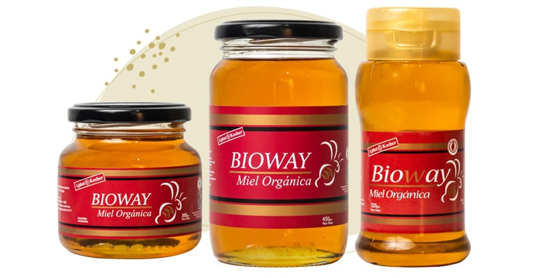 3 different packages of liquid organic all-flowers honey.